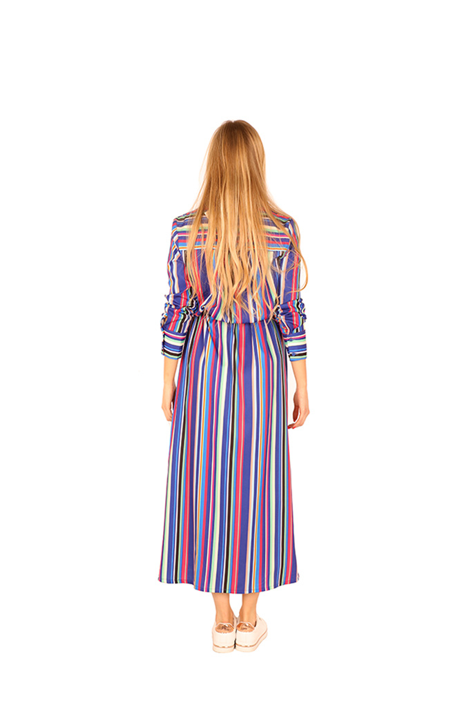 200ROB0127  Maxi hemd jurk gestreept TU