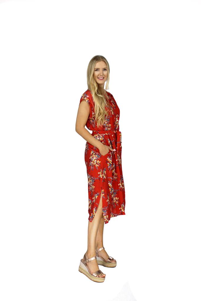 200ROB0123 Jurk maxi hemd bouquet bloemen Rood