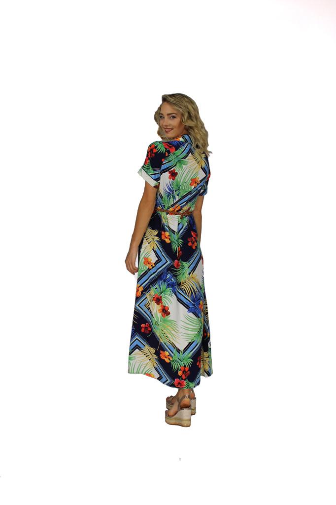 200ROB0193 Jurk maxi hemd palm bloemen korte mouw Donker blauw