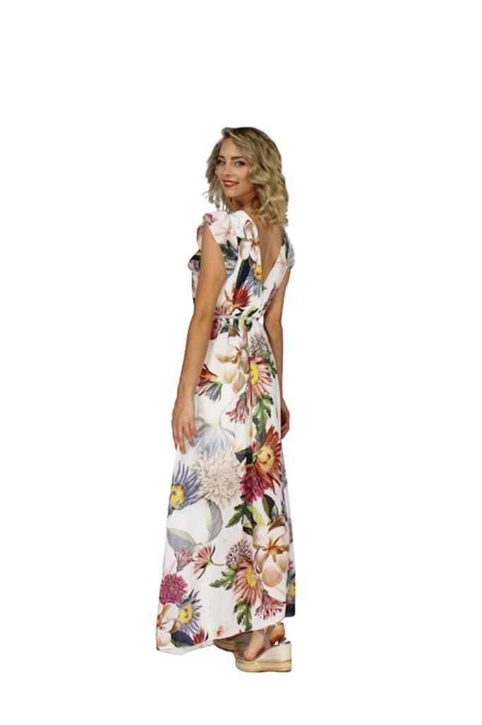 200ROB0194 Jurk maxi Vhals cashcoeur bloemen vlindermouw TU