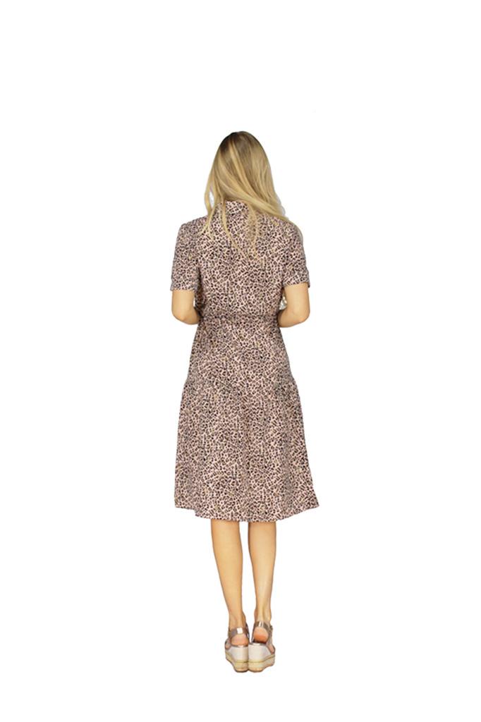 200ROB0156 Hemd jurk met leopard print Roze