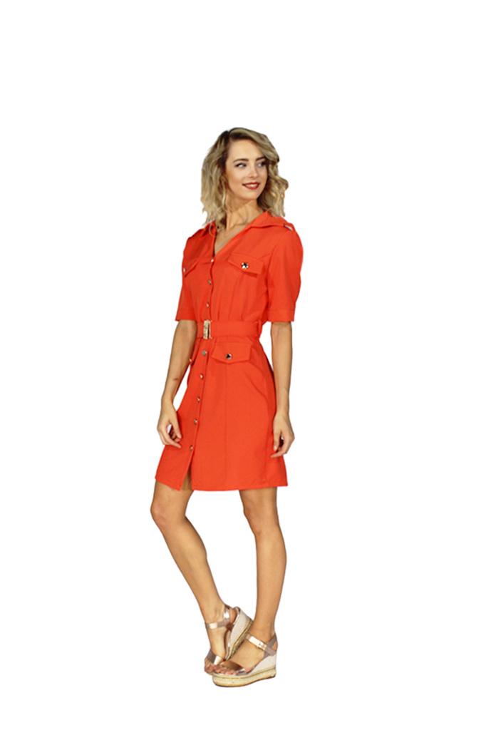 200ROB0132  Blazer jurk korte mouwen  Koraal
