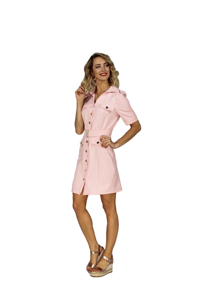 200ROB0132  Blazer jurk korte mouwen  Licht roze