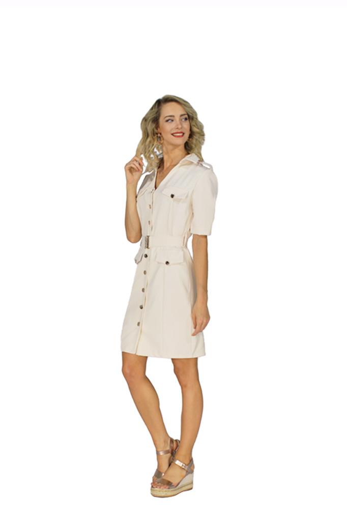200ROB0132  Blazer jurk korte mouwen  Wit