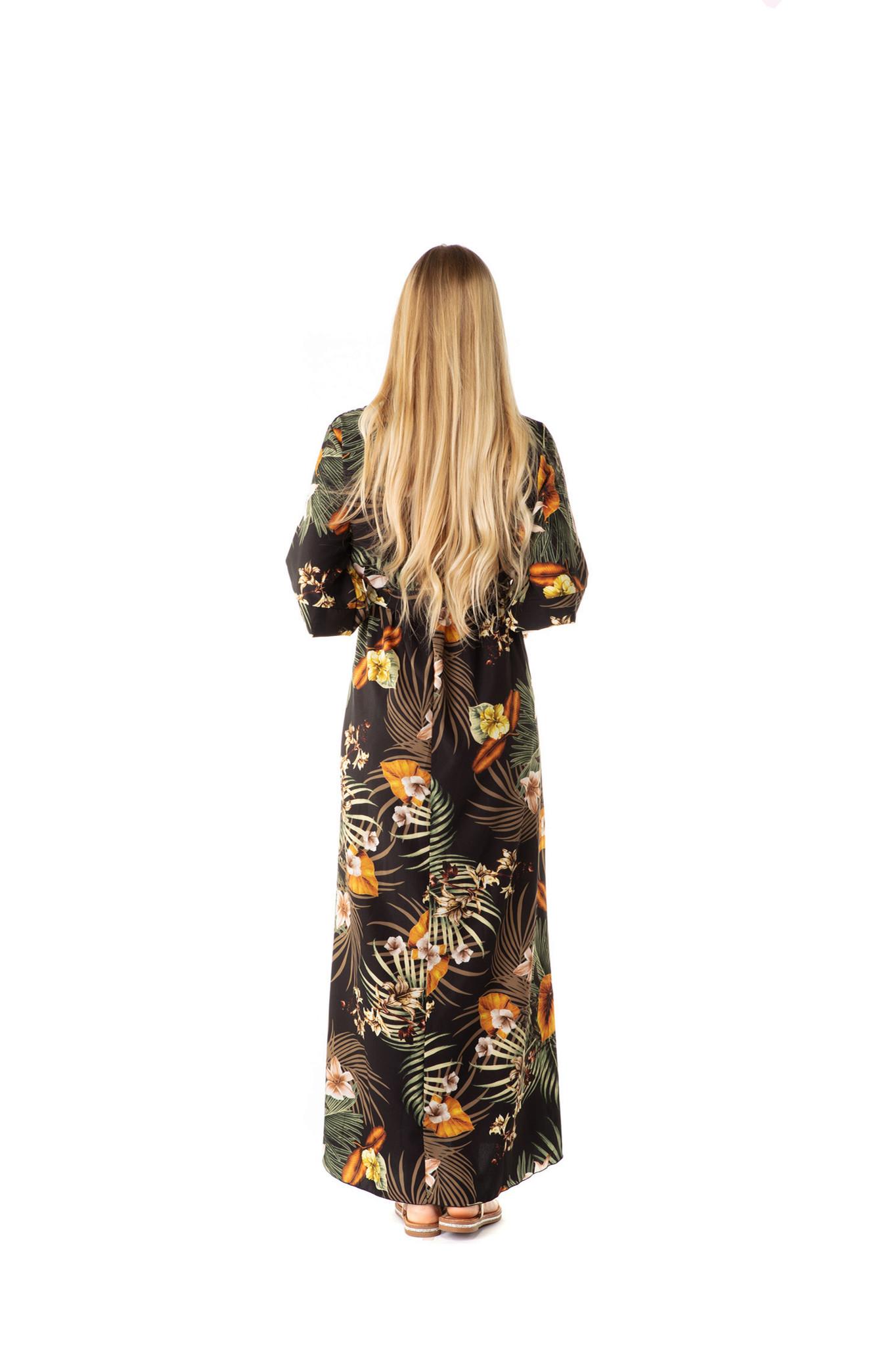 200ROB0165 Jurk maxi cache coeur palm-bloemen TU