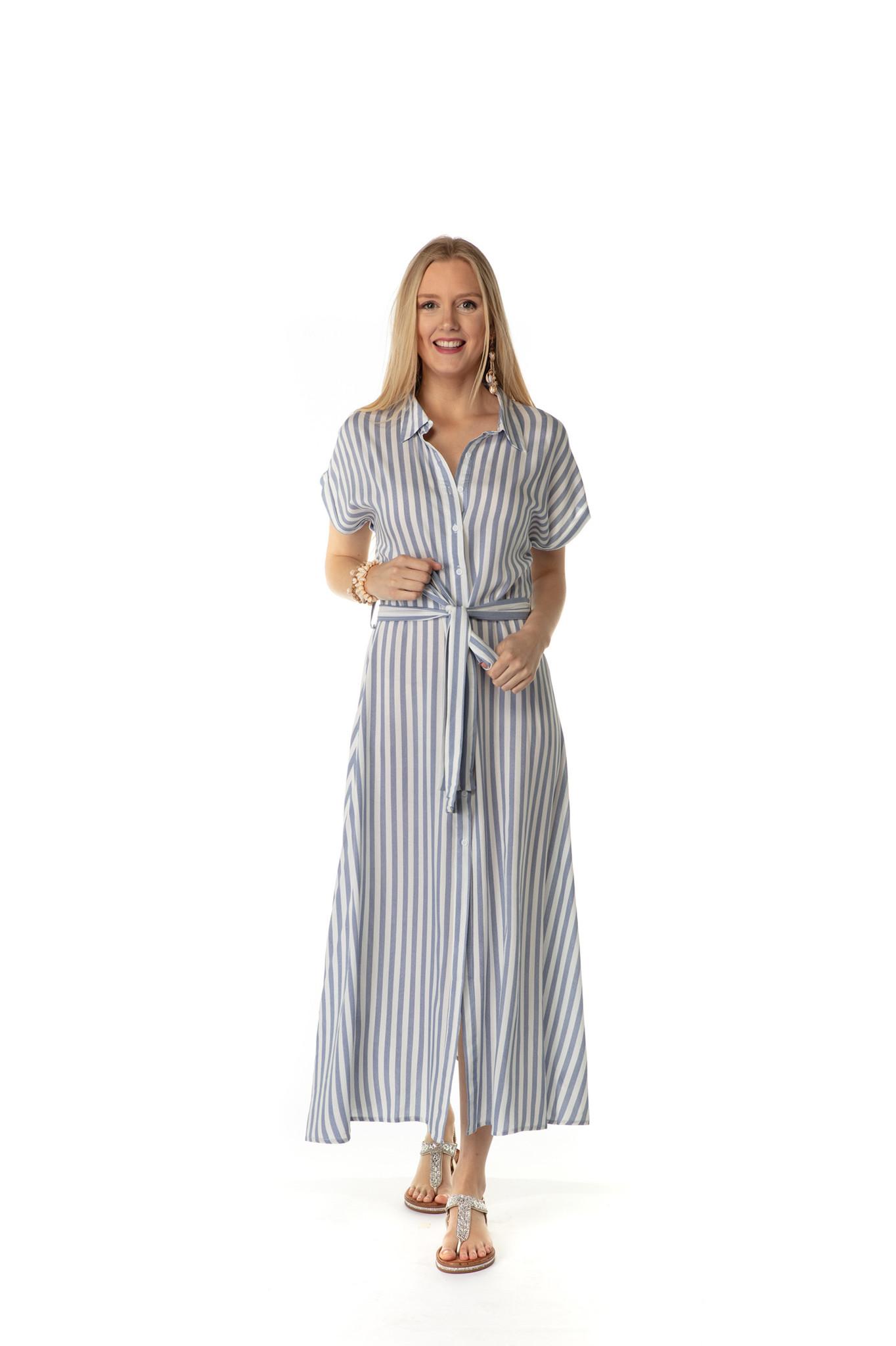 200ROB0210 Hemd jurk maxi gestreept kap mouw Licht blauw