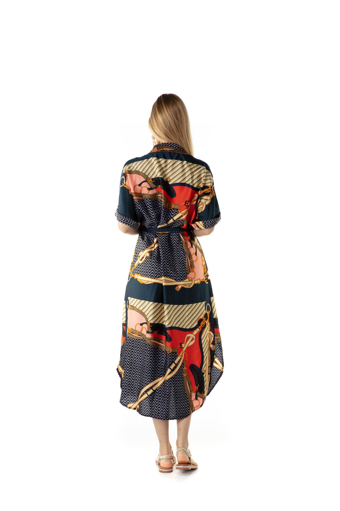 200ROB0171 Hemd jurk maxi hermes-print Donker blauw