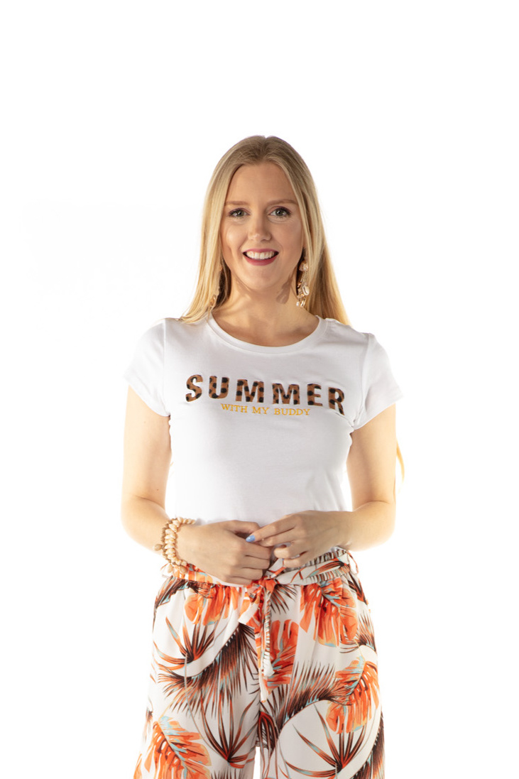200TSH0019 T-Shirt Summer Wit