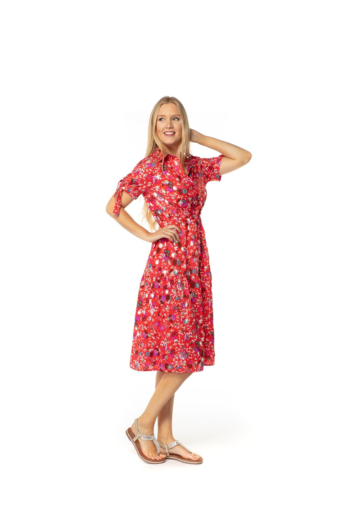 200ROB0154 Hemd jurk bloemen bedrukt Rood