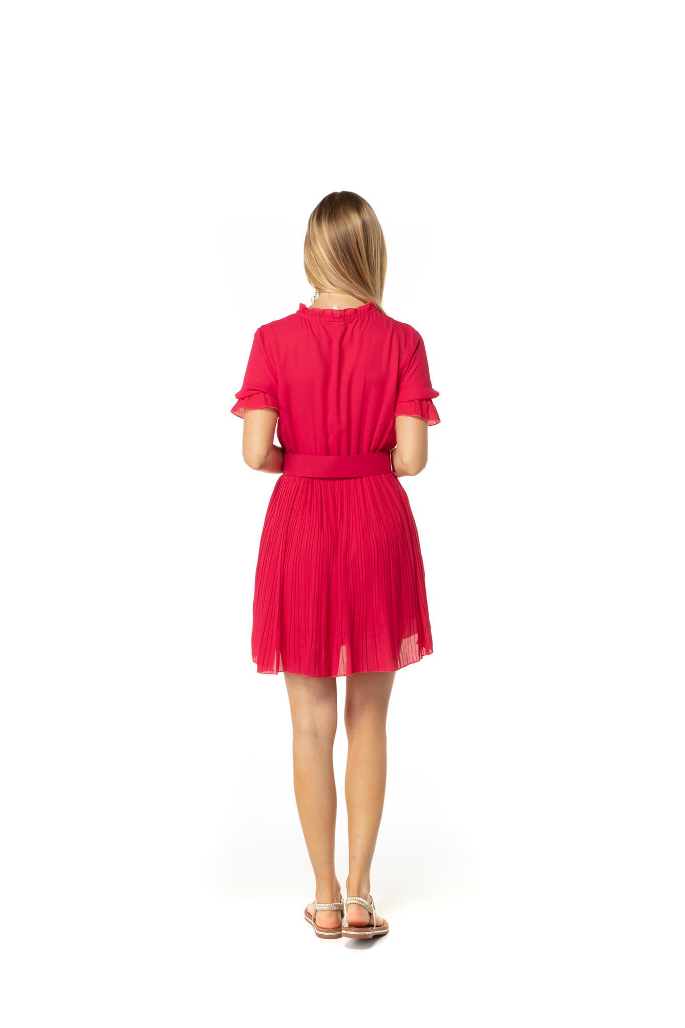 200ROB0216 Jurk korte mouw rok plisse Fuchsia