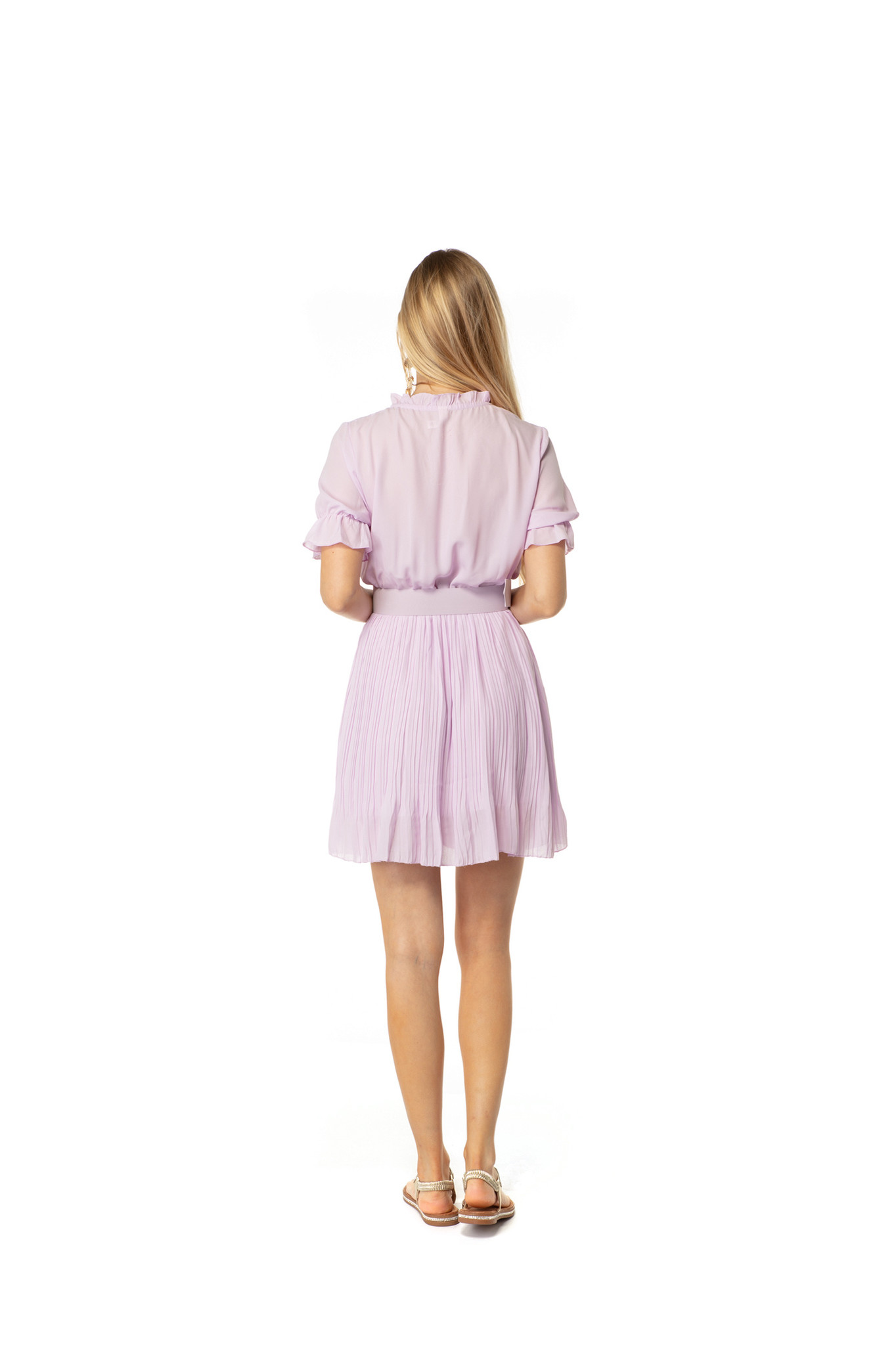 200ROB0216 Jurk korte mouw rok plisse Lila