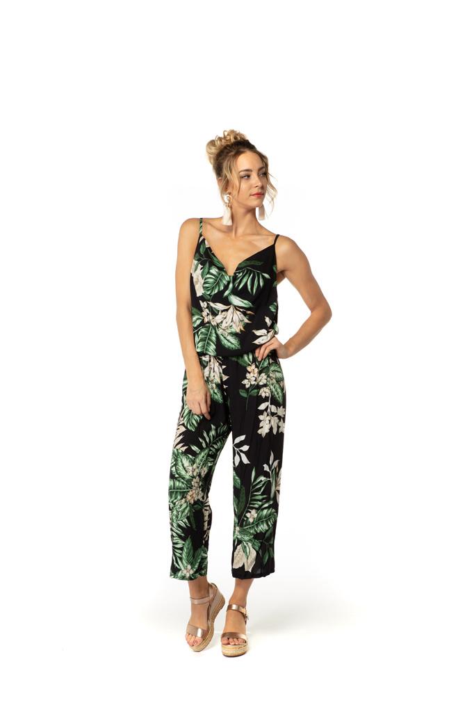 200SAL0030 Jumpsuit palm bloemen bretellen TU
