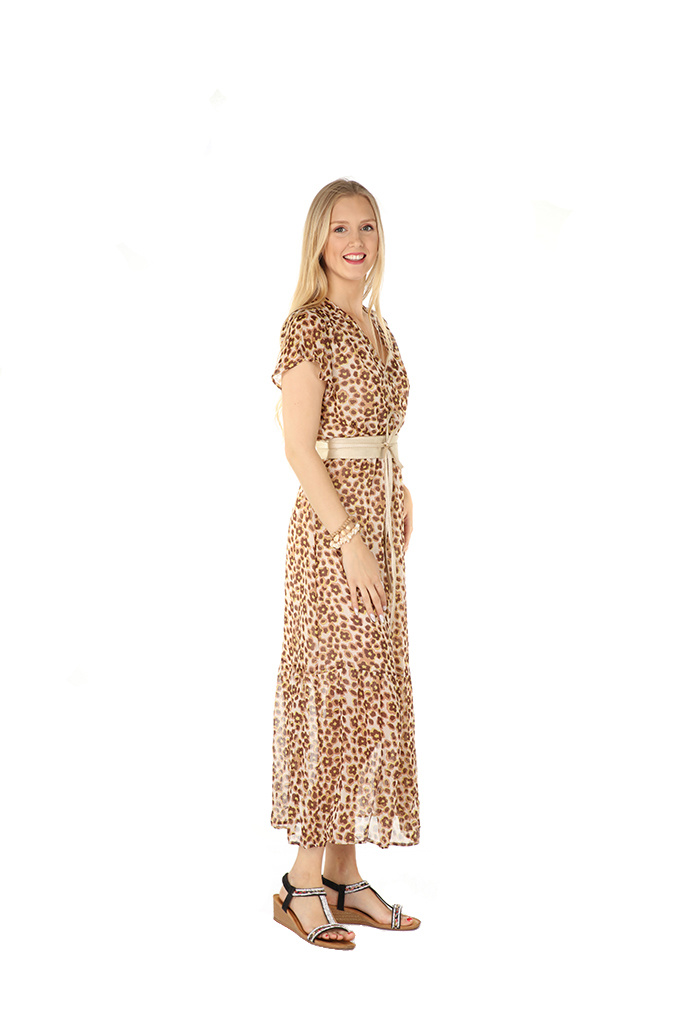 """200ROB1212 Jurk maxi cache coeur panther Beige """"New Arrival"""""""
