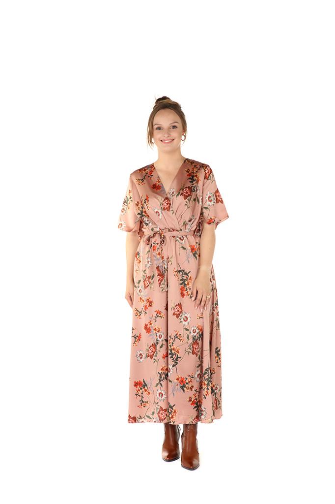 "300ROB0008 Lange jurk bloemen print Roze    ""NEW IN"""