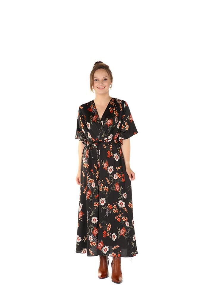"300ROB0008 Lange jurk bloemen print Zwart    ""NEW IN"""
