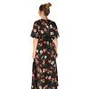 300ROB0008 Lange jurk bloemen print Zwart