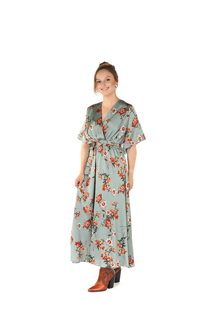 300ROB0008 Lange jurk bloemen print Blauw/Groen
