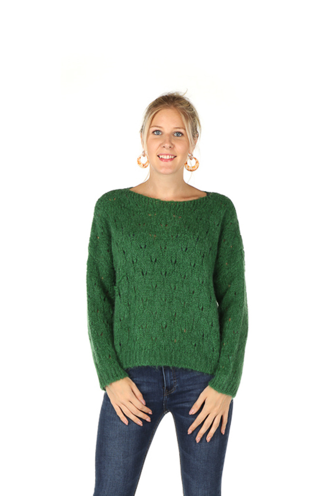 300PUL0005 Pull boothals cropped ajour Appel/Groen TU