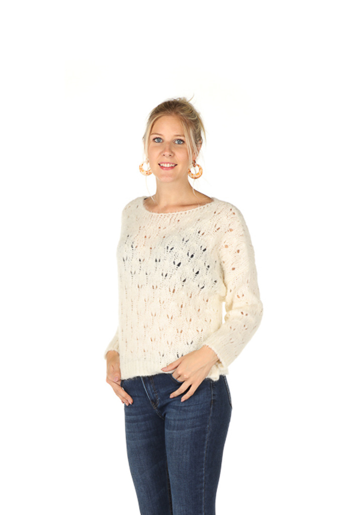 300PUL0005 Pull boothals cropped ajour Gebroken/Wit TU