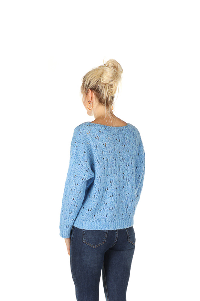 """300PUL0005 Pull boothals cropped ajour Licht/Blauw TU   """"NEW IN"""""""
