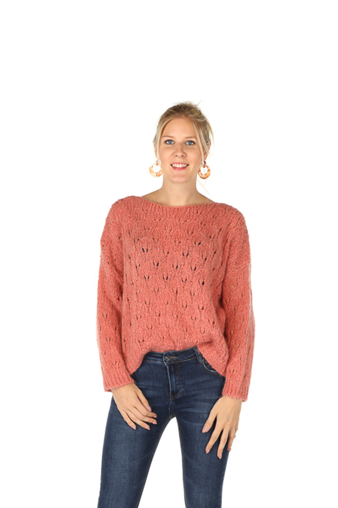 300PUL0005 Pull boothals cropped ajour Licht/Roze TU
