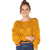 300PUL0000  Pullover cropped ajour Mosterd TU