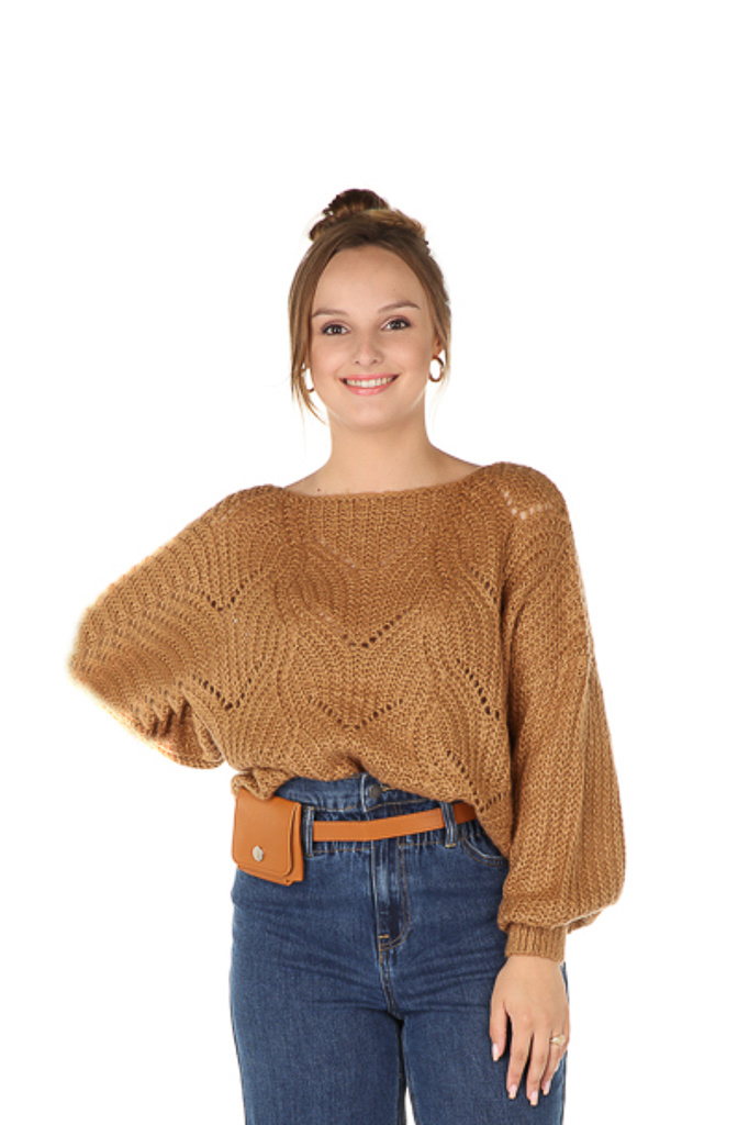 "300PUL0000  Pullover cropped ajour Camel TU  ""NEW IN"""