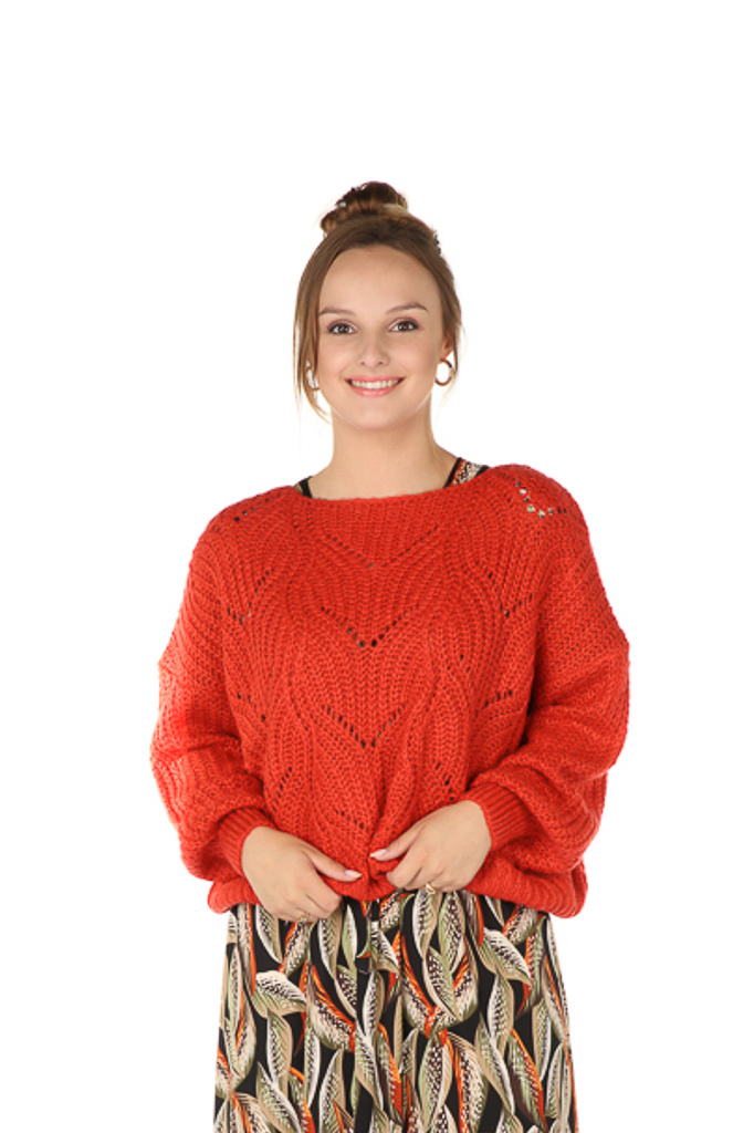 "300PUL0000  Pullover cropped ajour Rood TU  ""NEW IN"""