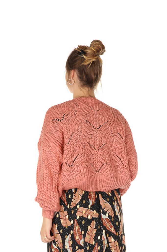 300PUL0000  Pullover cropped ajour Oud Roze TU