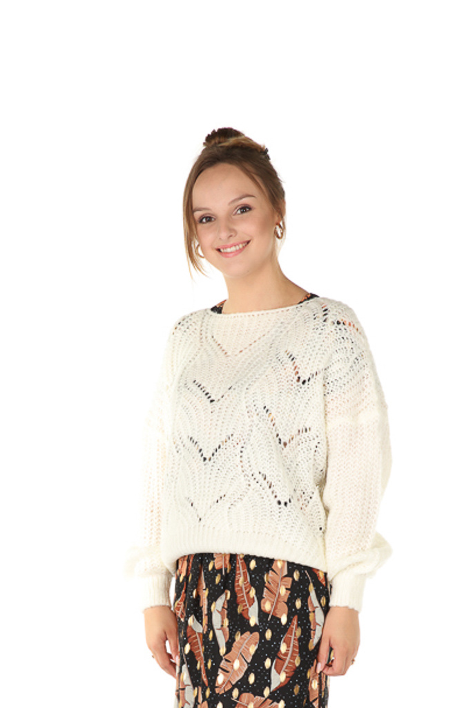 """300PUL0000  Pullover cropped ajour Gebroken Wit TU  """"NEW IN"""""""