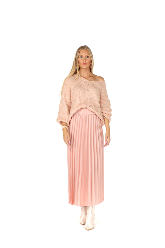 "300JUP0001 Rok maxi plissee LichtRoze TU  ""NEW IN"""
