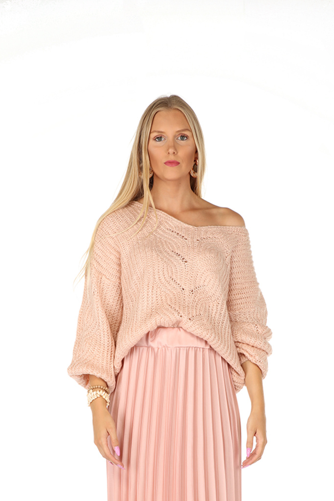 """300PUL0007 Pull V-hals cropped open-work  LichtRoze  TU  """"NEW IN"""""""