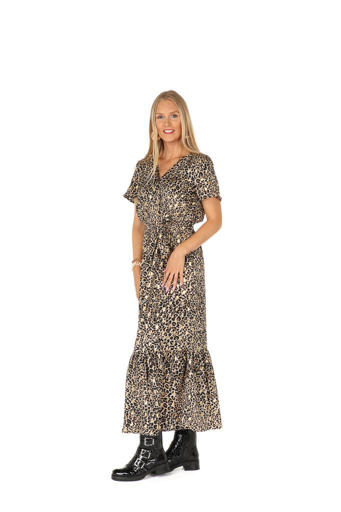 300ROB0030  Lange jurk mini-panther-print  Zwart/Beige