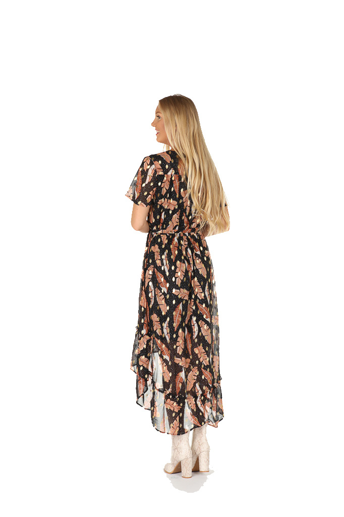 "300ROB0007  Jurk maxi feathers-gold spot Zwart/Taupe  ""NEW IN"""