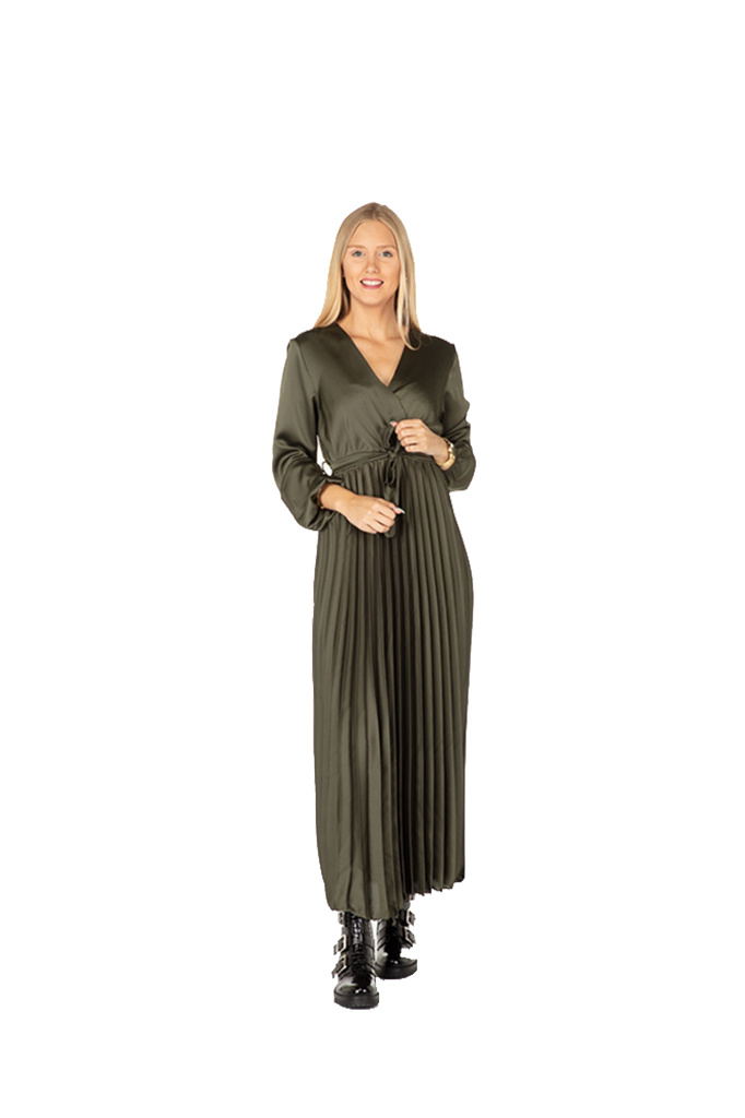 300ROB0041 Lange cache-coeur jurk in satijn  TU  Kaki