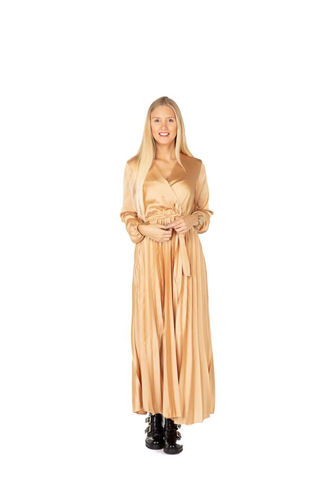 300ROB0041 Lange cache-coeur jurk in satijn  TU  Gold