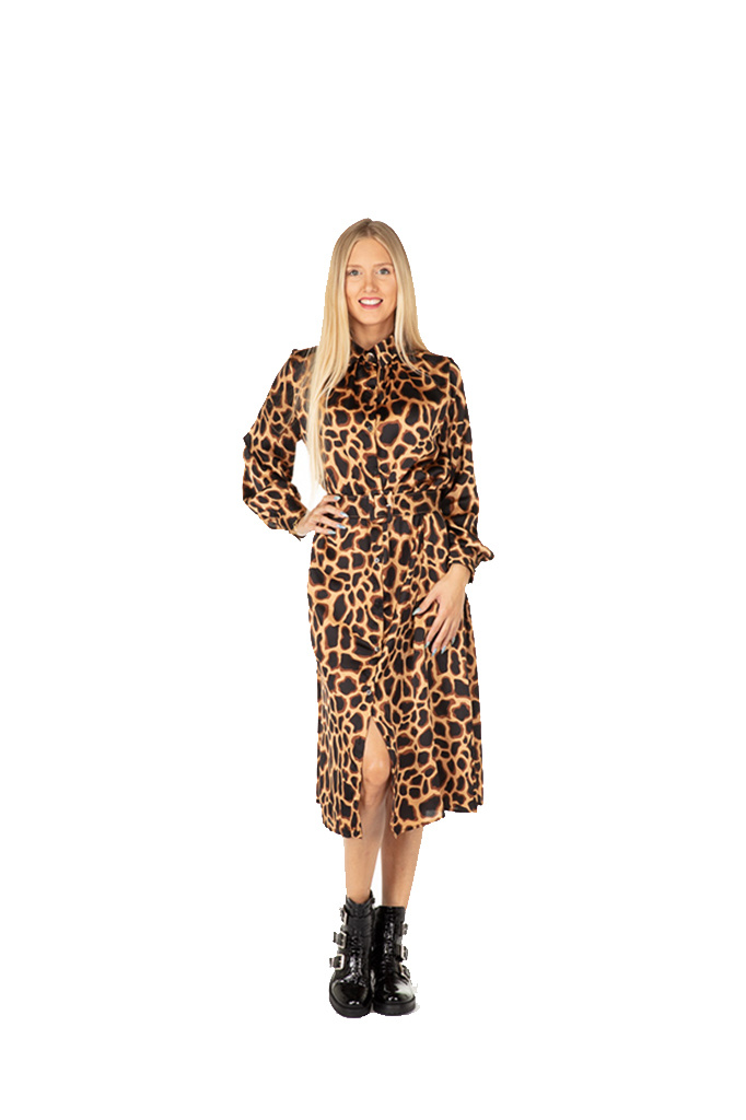 "300ROB0089 Lange jurk Giraffe-print  beige/camel  ""NEW IN"""