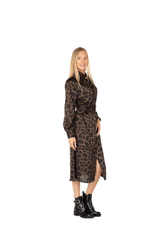 "300ROB0089 Lange jurk Giraffe-print  kaki/donkerbruin  ""NEW IN"""
