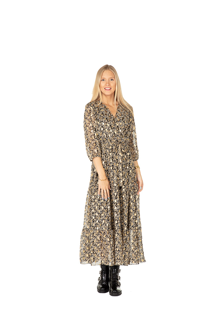 300ROB0078 Lange jurk fant-print golden spots Zwart/GebrokenWit