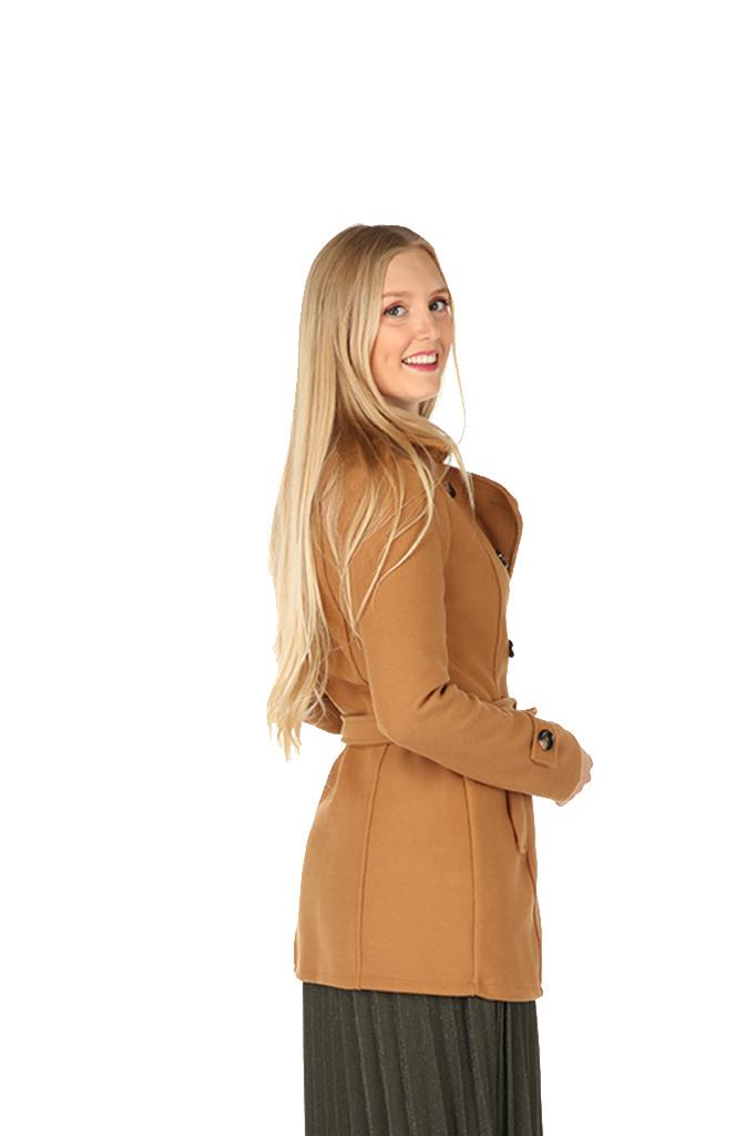300MNT0009 Mantel kort-model flannel Camel