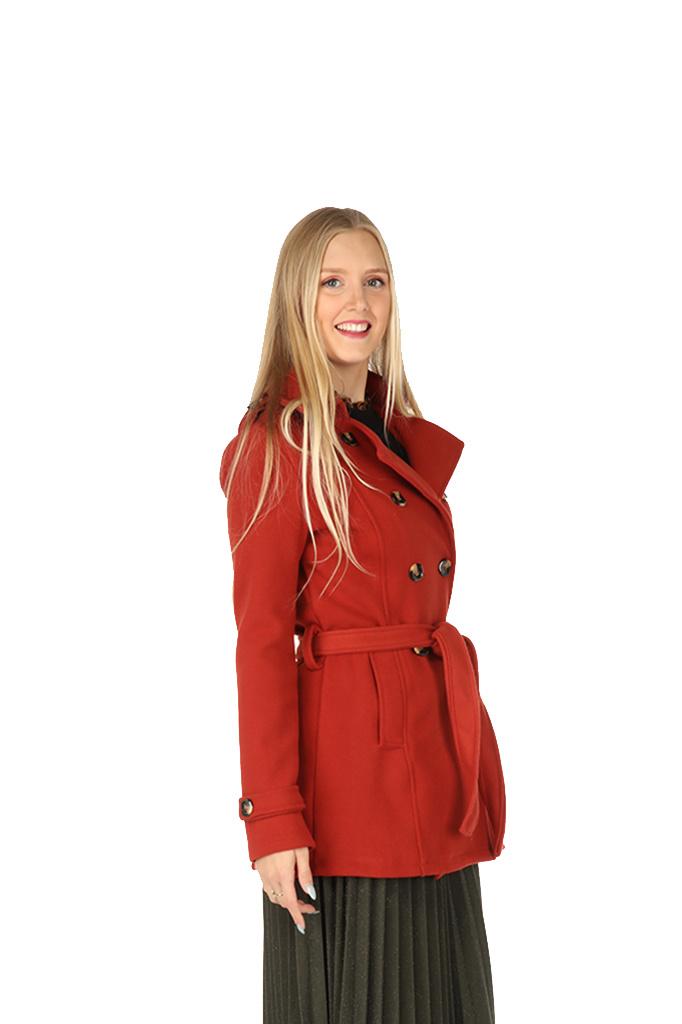 300MNT0009 Mantel kort-model flannel BriqueRed