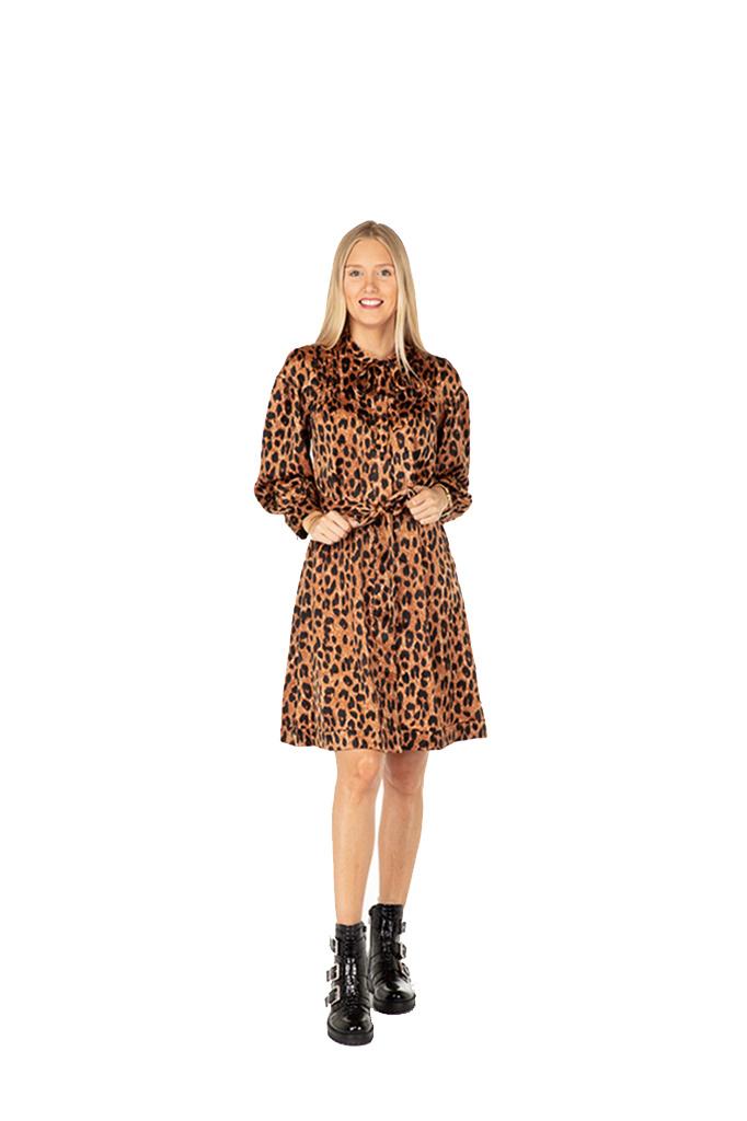 300ROB0090 Jurk leopard-print velvet-touch Cognac/Zwart