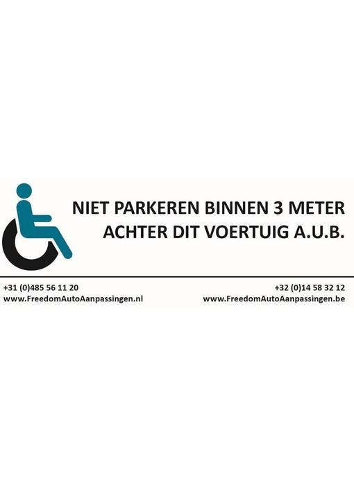 Freedom 3 meter afstand sticker (tbv rolstoelauto/rolstoelbus)