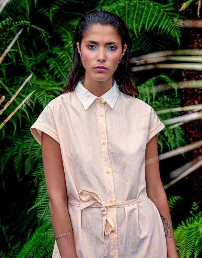 Mon Col Anvers Dress with side pockets and reversable collar - 100% cotton