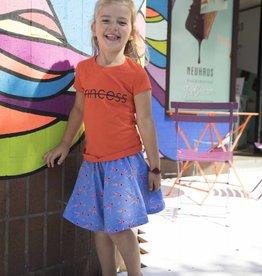 CDKN_kids CDKN_Kids - oranje Tshirt - Princess met zwarte sparkle print