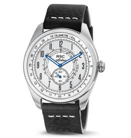 RSC Pilot Watches RSC Pilot Watches - Airliner zwart leer, zilver