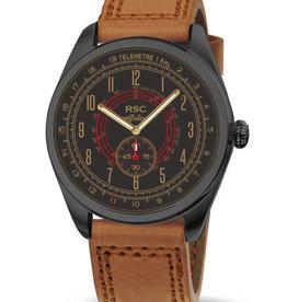 RSC Pilot Watches RSC Pilot Watches - Airliner bruin leer, zwarte behuizing