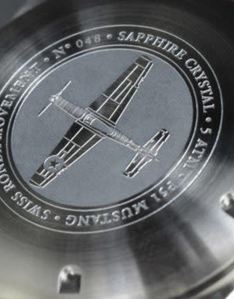 RSC Pilot Watches RSC - P-51 Mustang Pilot Watch Black with blue stitches
