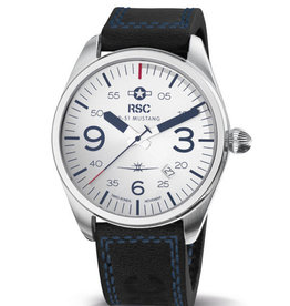 RSC Pilot Watches RSC - P-51 Mustang Pilot Watch Black with blue stitches