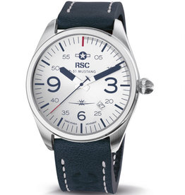 RSC Pilot Watches RSC - P-51 Mustang Pilot Watch Dark blue, white stitches leather